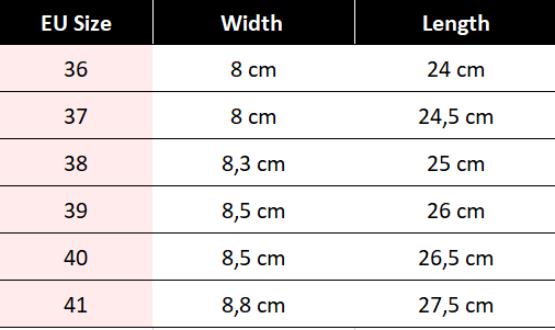 shoe size table with width and length measurements